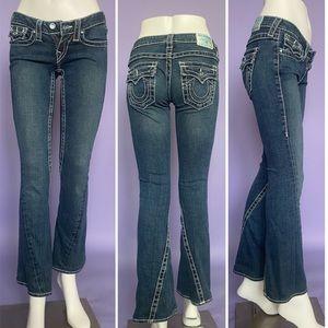 True Religion Blue Crystal Low-Waist Jeans